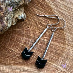 Hematite Arrow Silver Tube Earrings